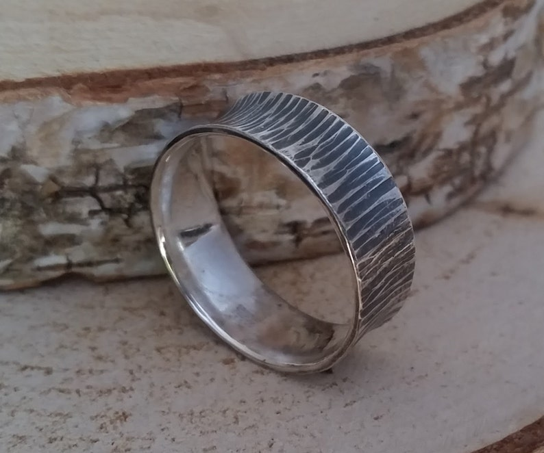Hollow silver ring with hammered structure  mm size image 0