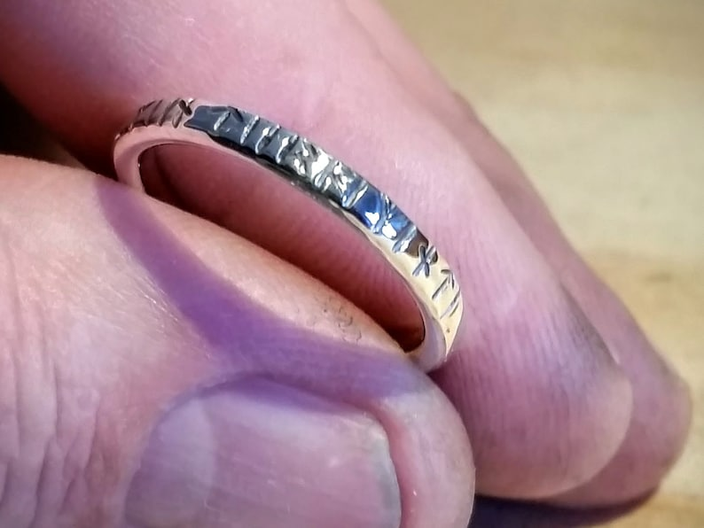 Silver ring with Viking Rune inscription 0.1 Inch wide image 0