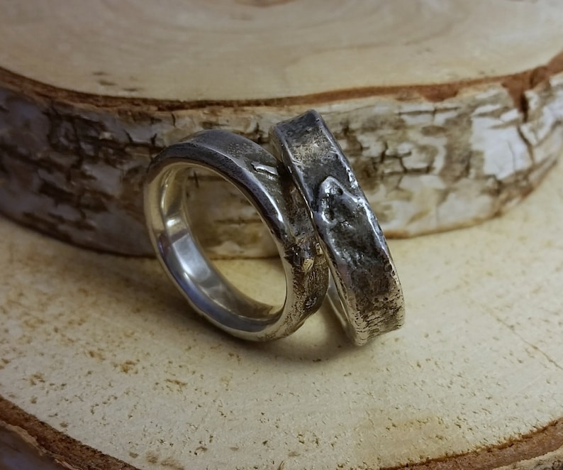 Chunky fused silver ring  mm size image 0