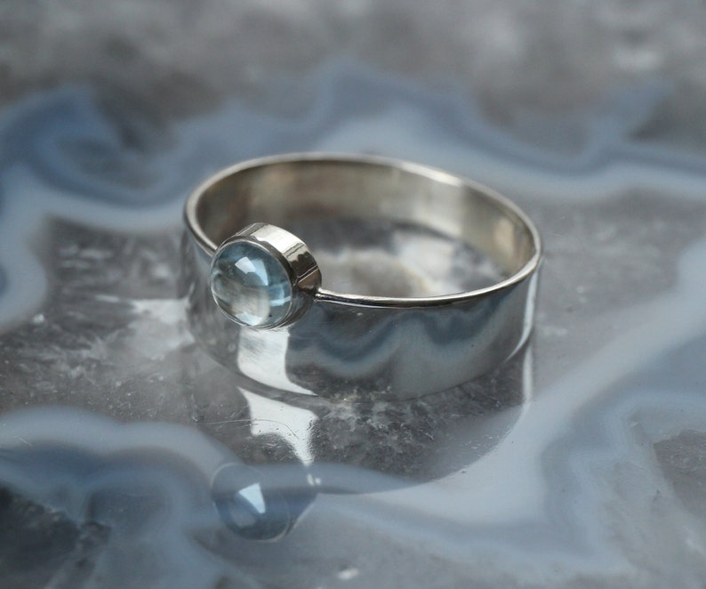 Sterling Silver ring with blue Topaz image 0