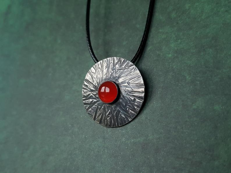 Silver viking shield hanger carnelian center stone handmade image 0