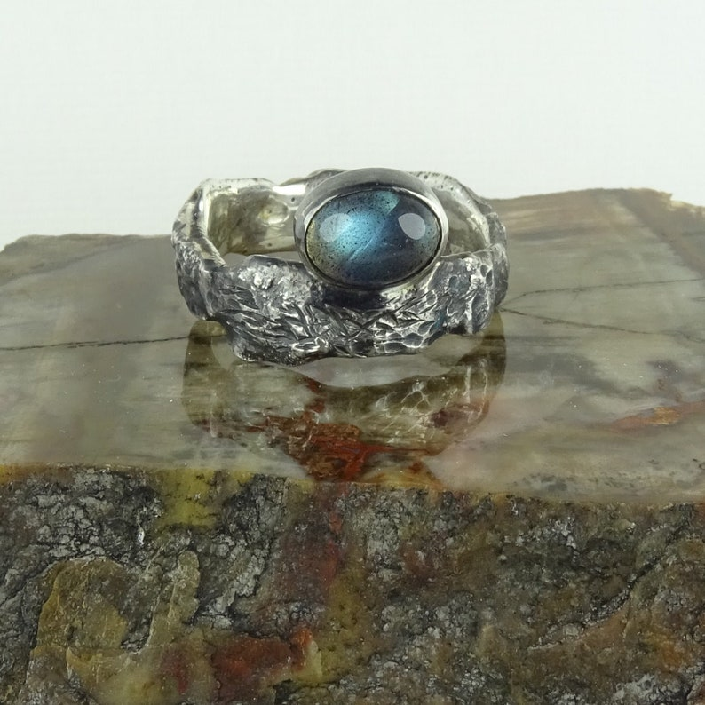 Labradorite and rough silver ring image 0