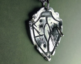 Solid Sterling Silver shieldpendant necklace  'Dragonfight' , hand made