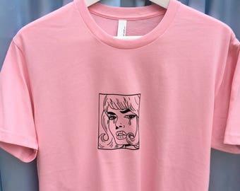 Crying Pop Art Comic Woman Screen Printed T Shirt