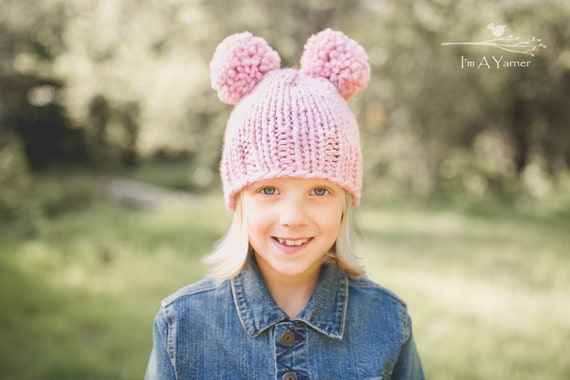 Pink Double Pom Pom Hat Pompom Beanie Pom Pom Hat Woman  352380bddb3