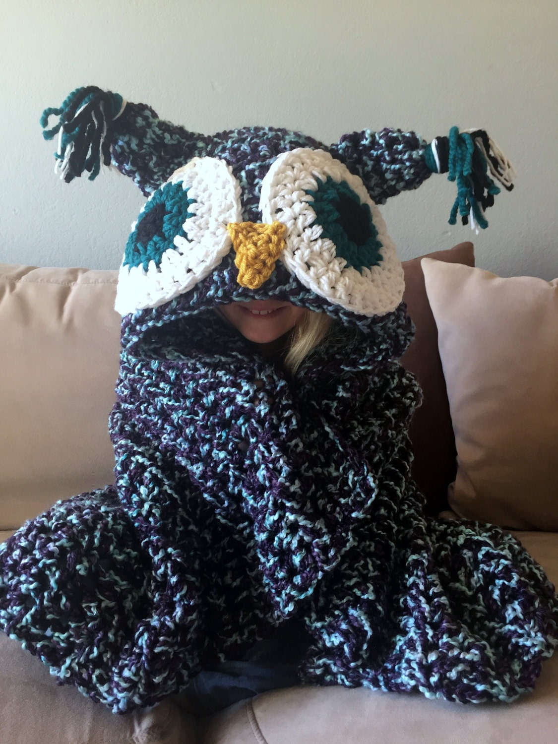 Adult Hooded Blanket Owl Blanket Adult Crochet Blanket Etsy