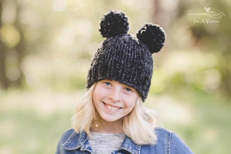 0348aaca5f5 Black Double Pom Hat Double Pom Pom Beanie Pom Pom Hat