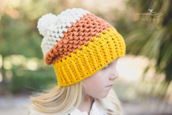 Candy Corn Beanie Orange Halloween Hat Crochet Slouchy Hat Etsy