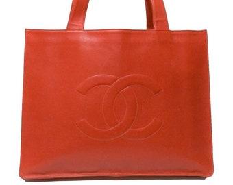 4eb7b51a938 Vintage Chanel Leather Tote-Orange Leather Shoulder Bag-Vintage Chanel  Handbag-Vintage Designer Purse Handbag-Weekend Shopping Tote