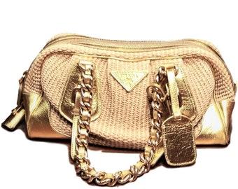 f0ebb781c23 Prada Paglia + Cinghiale Zip Top Shoulder Bag-Vintage Prada  Satchel-Metallic Gold Designer Vintage Purse Handbag