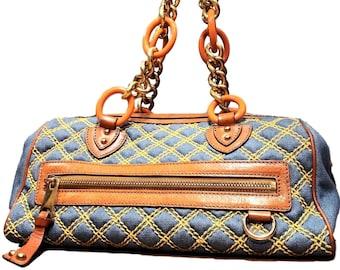 8f4227ea37 Marc Jacobs Denim and Leather Handbag-Vintage Designer Purse-Denim Satchel  with Gold Chain Straps