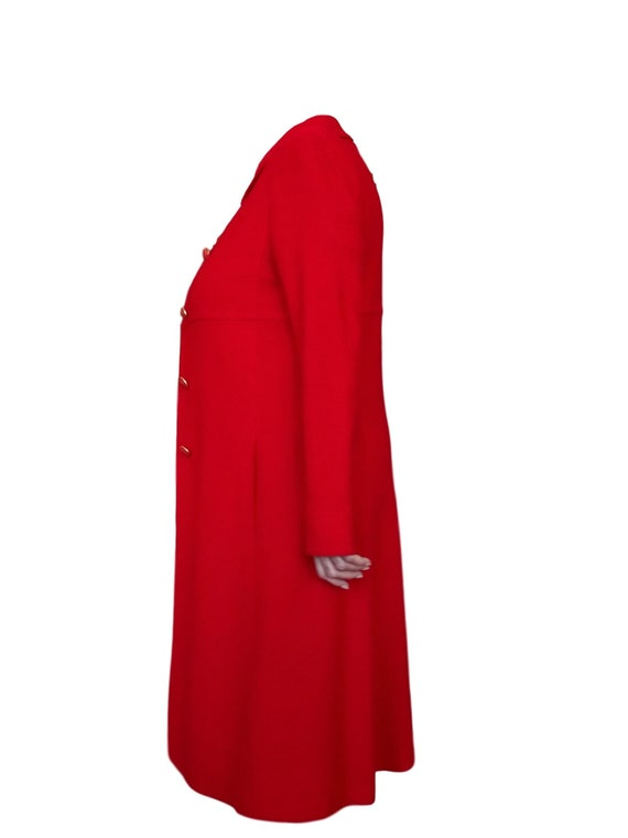 Red Wool Coat - Designer St John Collection Overc… - image 6