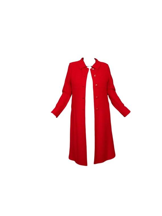 Red Wool Coat - Designer St John Collection Overc… - image 2