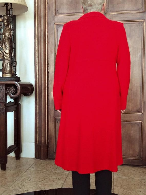 Red Wool Coat - Designer St John Collection Overc… - image 8