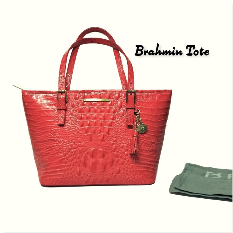 714699c39 Brahmin Tote Large-Melbourne Leather Tote-Coral Croc Embossed | Etsy