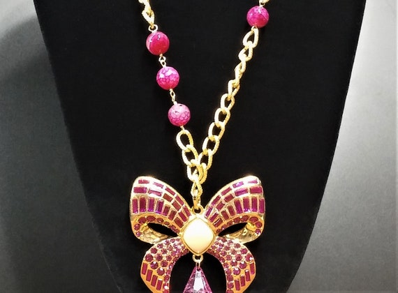 Vintage Scaasi Pin Necklace - Gold and Pink Lucit… - image 2