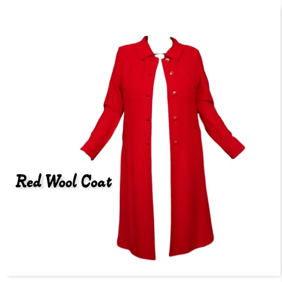 Red Wool Coat-Designer St John Collection Overcoat