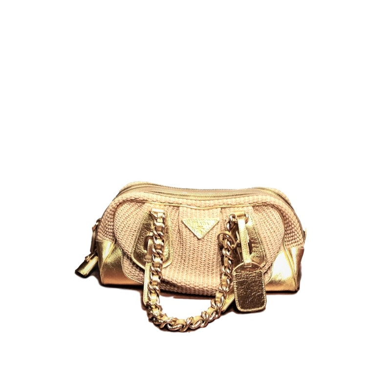 af5805ef3c048f Prada Paglia Cinghiale Zip Top Shoulder Bag-Vintage Prada | Etsy