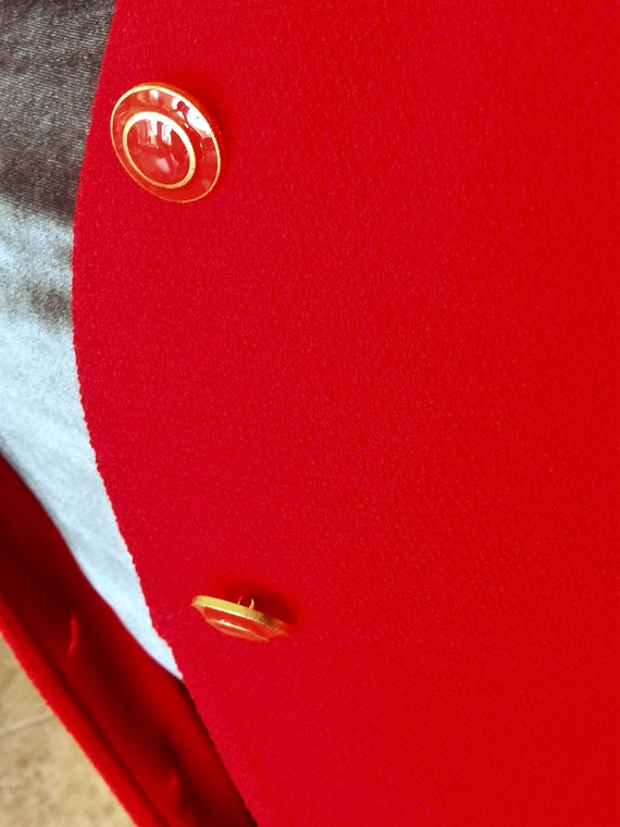 Red Wool Coat - Designer St John Collection Overc… - image 9