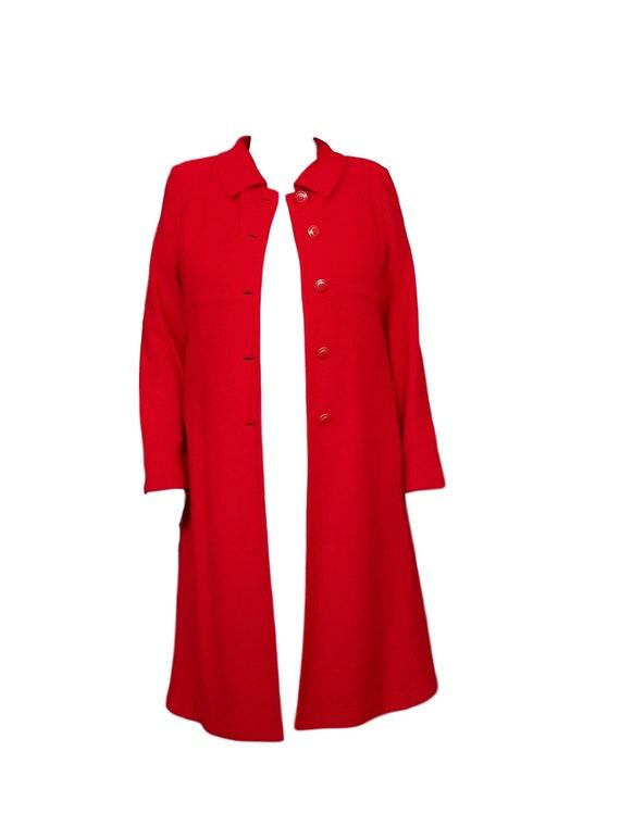 Red Wool Coat - Designer St John Collection Overc… - image 5