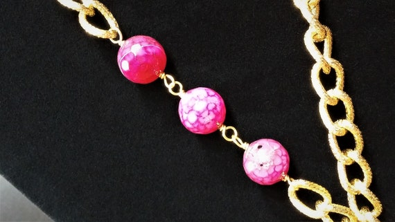 Vintage Scaasi Pin Necklace - Gold and Pink Lucit… - image 4