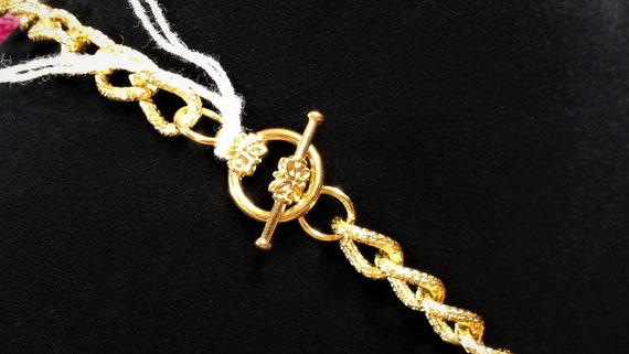 Vintage Scaasi Pin Necklace - Gold and Pink Lucit… - image 5