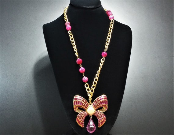 Vintage Scaasi Pin Necklace - Gold and Pink Lucit… - image 3