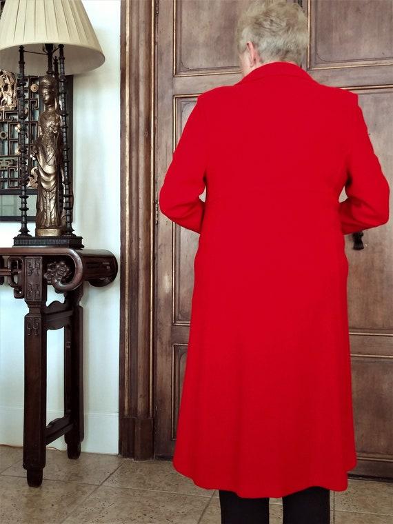 Red Wool Coat - Designer St John Collection Overc… - image 7