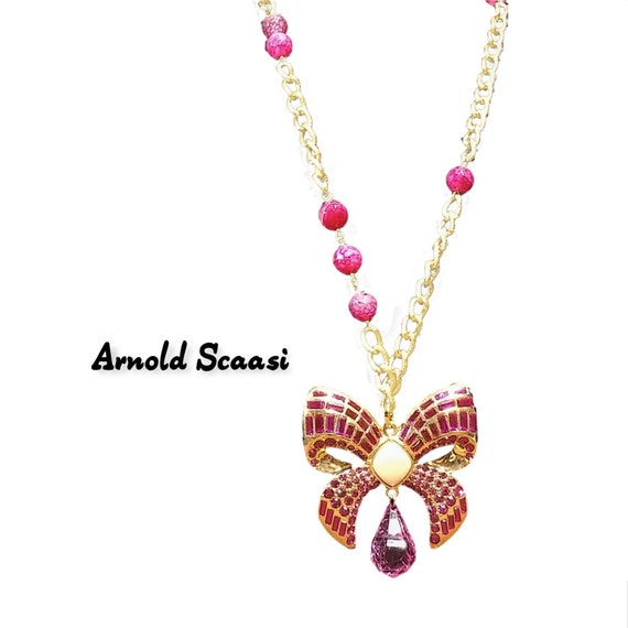 Vintage Scaasi Pin Necklace - Gold and Pink Lucit… - image 7