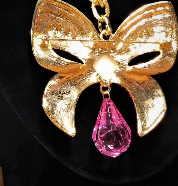 Vintage Scaasi Pin Necklace - Gold and Pink Lucit… - image 6