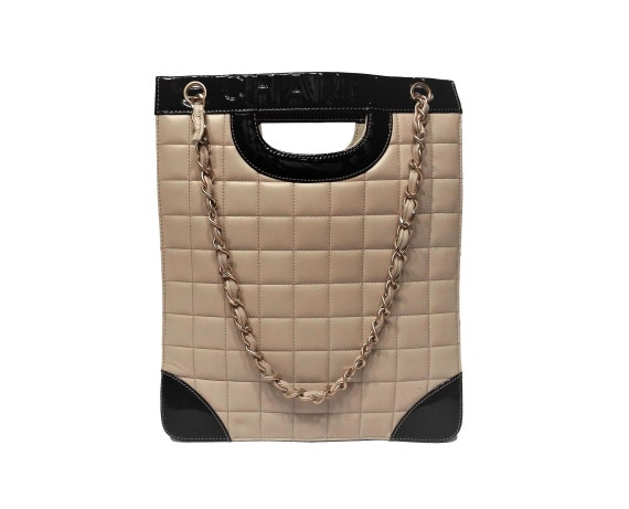 16de00531ea4 Vintage Chanel Leather Quilted Tote-Two Tone Leather