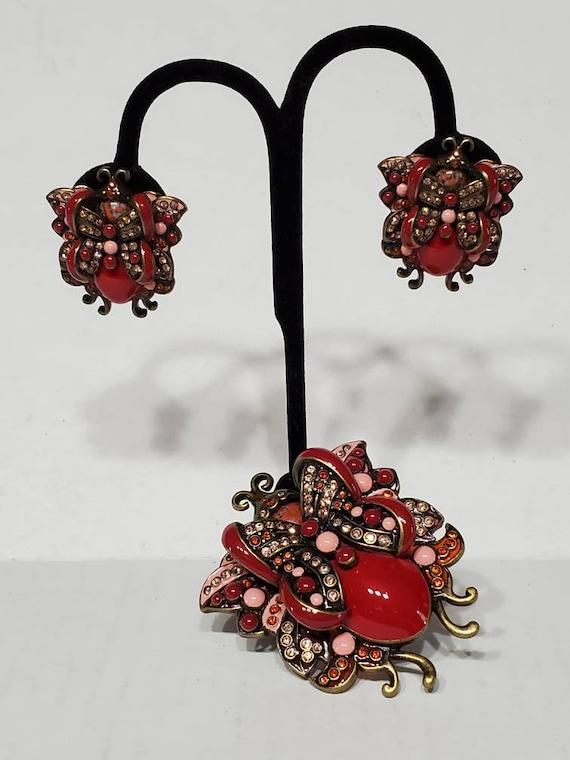 Joan Rivers Earrings and Brooch - Vintage Clip Ons - image 2
