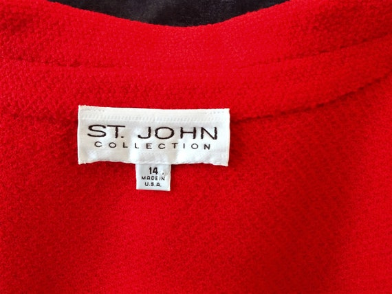 Red Wool Coat - Designer St John Collection Overc… - image 3