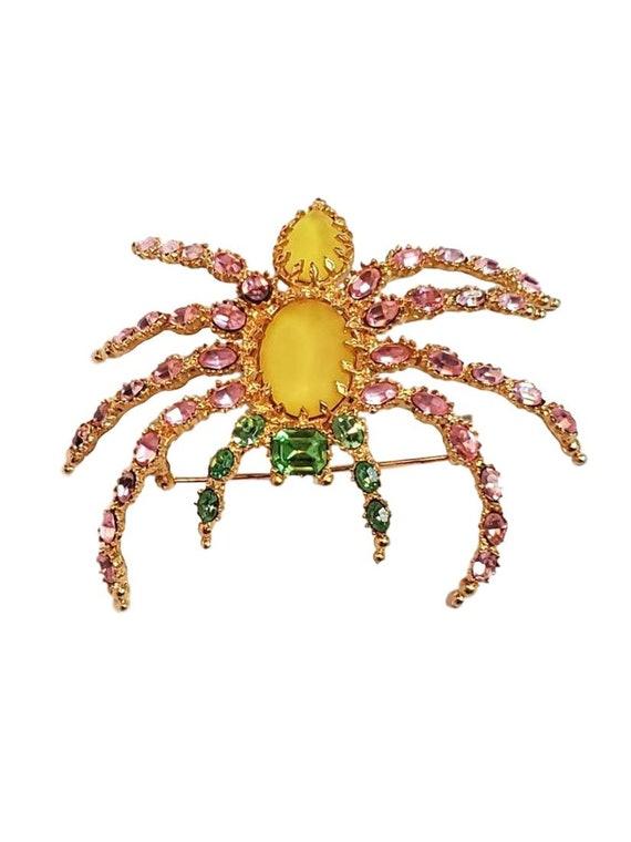 Spider Pin - Vintage Crystal Rhinestone Brooch Pin