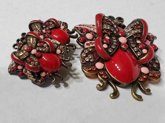 Joan Rivers Earrings and Brooch - Vintage Clip Ons - image 4