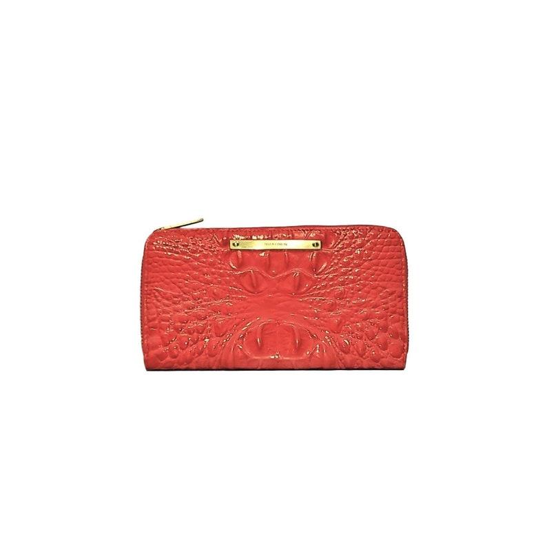 6597ad0ab Brahmin Large Wallet-Melbourne Leather Wallet-Coral Croc | Etsy