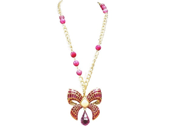 Vintage Scaasi Pin Necklace - Gold and Pink Lucit… - image 1
