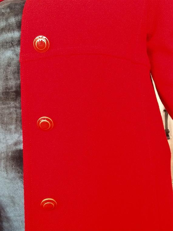 Red Wool Coat - Designer St John Collection Overc… - image 4