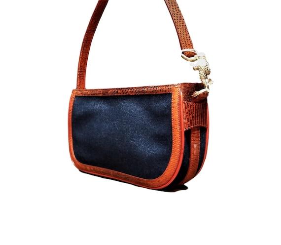 Vintage Kieselstein Cord Borsa a spalla Orange Snakeskin & Denim Purse Python Trimmed Bag con Herman Toad Motif Designer Vintage Purse