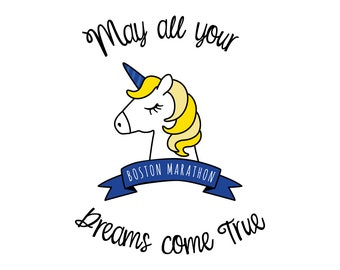 Boston Marathon Dreams Unicorn - 8X10 Printable Digital Art, Motivational, Poster, Print, Running
