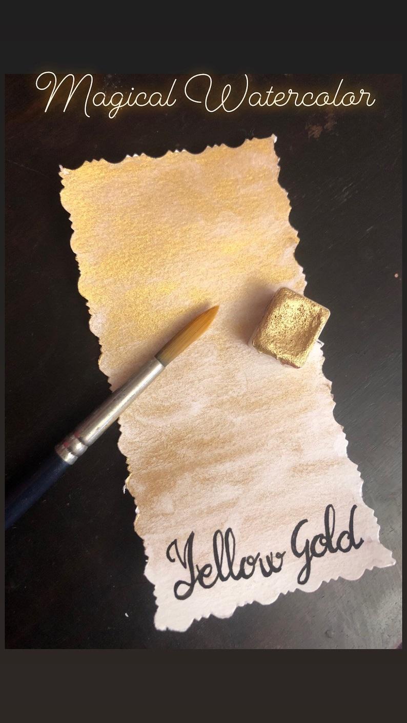 Artizan Paint Calligraphy Golden Art journaling YELLOW GOLD Handmade Watercolor paint