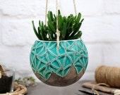 Ceramic hanging planter farmhouse decor hand-painted texture speckled turquoise indoor outdoor garden ceramic plant lover gift