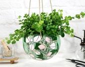 Large flower style ceramic hanging planter hand-painted leaf pattern boho planter flower planter flower pot hanger gift for mom