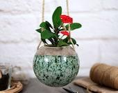 Succulent hanging planter speckled green ceramic planter wall planter plant hanger succulent pot flower pot home decor gift