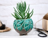 Modern ceramic planter for succulent, cactus, air plant mini planter pot with hand carved turquoise texture gardening garden gift