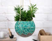 Large hanging planter pot farmhouse decor hand-painted texture in turquoise indoor outdoor garden ceramic plant lover gift