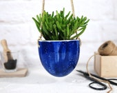 Modern hanging planter with jute cord ceramic planter indoor outdoor planter for cactus, succulent, air plant gardening gift