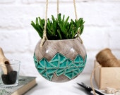 Speckled turquoise ceramic hanging planter medium indoor outdoor garden decor plant holder modern planter gift for gardener