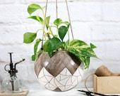 Large hanging planter indoor ceramic plant hanger plant holder geometric carved speckled white farmhouse decor gardening gift