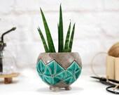Mini turquoise hand-painted planter pot ceramic planter for succulent, cactus, air plants terrarium indoor garden modern home decor
